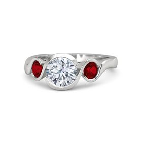 Round Diamond Sterling Silver Ring with Ruby