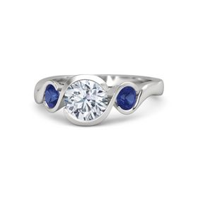 Round Diamond Sterling Silver Ring with Blue Sapphire