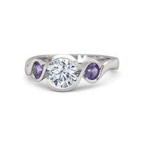 Round Diamond Sterling Silver Ring with Iolite