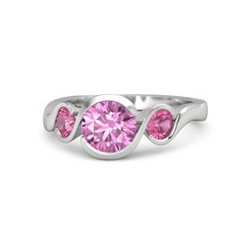 Round Pink Sapphire Sterling Silver Ring with Pink Tourmaline