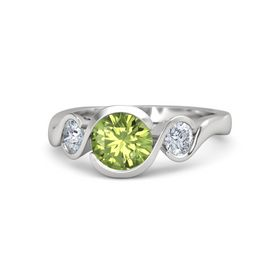 Round Peridot Sterling Silver Ring with Moissanite