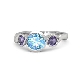 Round Blue Topaz Sterling Silver Ring with Iolite
