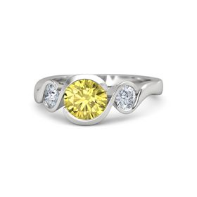 Round Yellow Sapphire Sterling Silver Ring with Moissanite