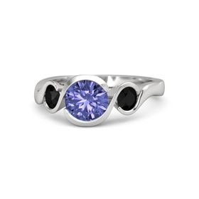 Round Tanzanite Sterling Silver Ring with Black Onyx