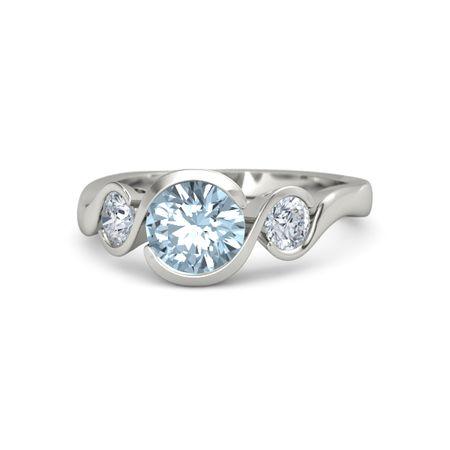 d003153e3cb557 Round Aquamarine 14K White Gold Ring with Diamond | Hurricane Ring ...