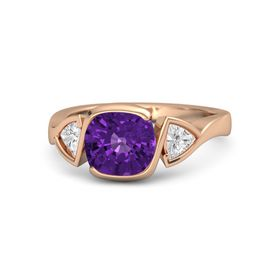 Cushion Amethyst 14K Rose Gold Ring with White Sapphire