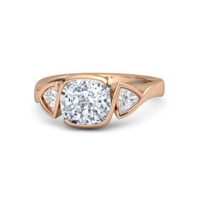 Cushion Diamond 14K Rose Gold Ring with White Sapphire