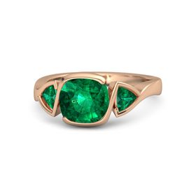 Cushion Emerald 14K Rose Gold Ring with Emerald