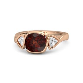 Cushion Red Garnet 14K Rose Gold Ring with White Sapphire