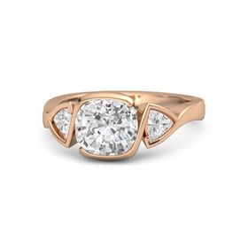 Cushion White Sapphire 14K Rose Gold Ring with White Sapphire