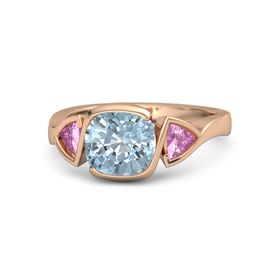 Cushion Aquamarine 14K Rose Gold Ring with Pink Sapphire