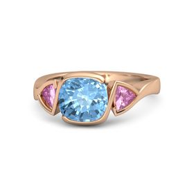 Cushion Blue Topaz 14K Rose Gold Ring with Pink Sapphire