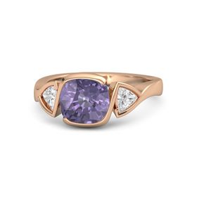 Cushion Iolite 14K Rose Gold Ring with White Sapphire