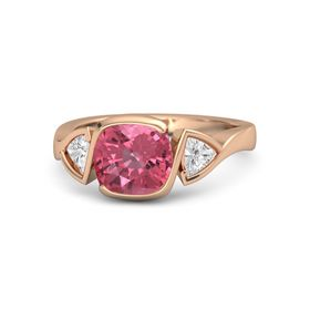 Cushion Pink Tourmaline 14K Rose Gold Ring with White Sapphire