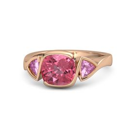 Cushion Pink Tourmaline 14K Rose Gold Ring with Pink Sapphire