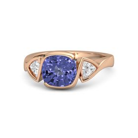 Cushion Tanzanite 14K Rose Gold Ring with White Sapphire