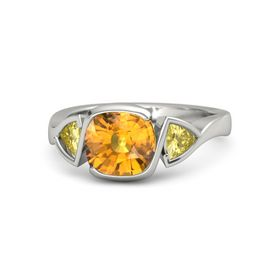 Cushion Citrine 14K White Gold Ring with Yellow Sapphire