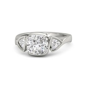 Cushion White Sapphire 14K White Gold Ring with White Sapphire