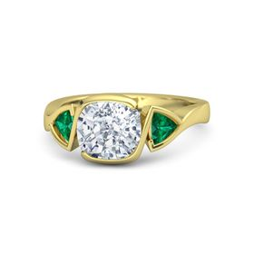 Cushion Moissanite 14K Yellow Gold Ring with Emerald