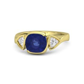 Cushion Sapphire 14K Yellow Gold Ring with White Sapphire