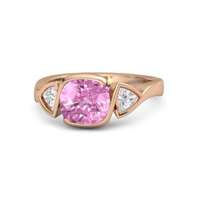 Cushion Pink Sapphire 18K Rose Gold Ring with White Sapphire