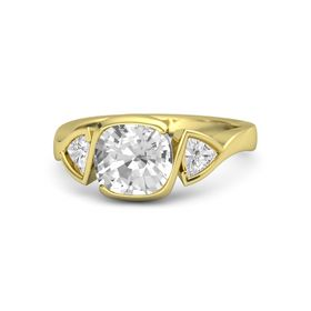 Cushion Rock Crystal 18K Yellow Gold Ring with White Sapphire