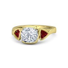 Cushion Diamond 18K Yellow Gold Ring with Ruby