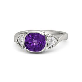 Cushion Amethyst Palladium Ring with White Sapphire