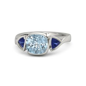 Cushion Aquamarine Palladium Ring with Sapphire