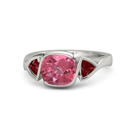 Cushion Pink Tourmaline Palladium Ring with Ruby