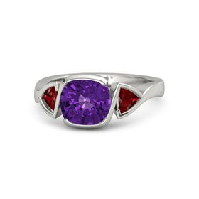 Cushion Amethyst Platinum Ring with Ruby