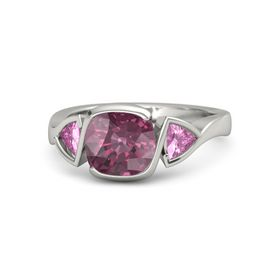 Cushion Rhodolite Garnet Platinum Ring with Pink Sapphire