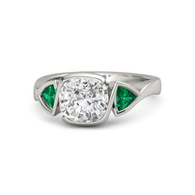 Cushion White Sapphire Platinum Ring with Emerald