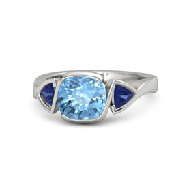 Cushion Blue Topaz Platinum Ring with Sapphire