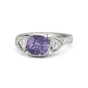 Cushion Iolite Platinum Ring with White Sapphire