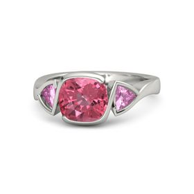 Cushion Pink Tourmaline Platinum Ring with Pink Sapphire