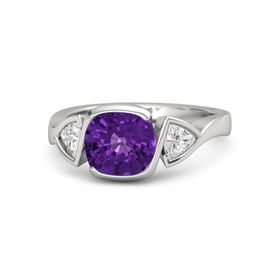 Cushion Amethyst Sterling Silver Ring with White Sapphire