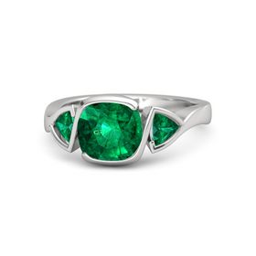 Cushion Emerald Sterling Silver Ring with Emerald