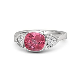 Cushion Pink Tourmaline Sterling Silver Ring with White Sapphire