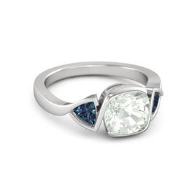 Cushion-Cut Hurricane Ring with Trillion-Cut Accents