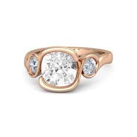 Cushion Rock Crystal 14K Rose Gold Ring with Moissanite