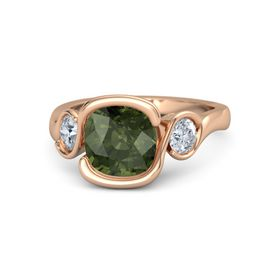 Cushion Green Tourmaline 14K Rose Gold Ring with Diamond
