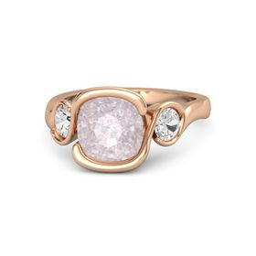 Cushion Rose Quartz 14K Rose Gold Ring with White Sapphire