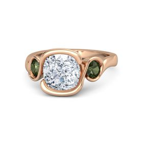 Cushion Moissanite 14K Rose Gold Ring with Green Tourmaline