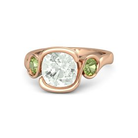 Cushion Green Amethyst 14K Rose Gold Ring with Peridot
