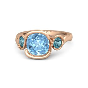 Cushion Blue Topaz 14K Rose Gold Ring with London Blue Topaz