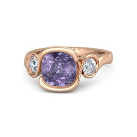 Cushion Iolite 14K Rose Gold Ring with Diamond