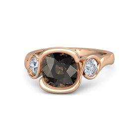 Cushion Smoky Quartz 14K Rose Gold Ring with Moissanite