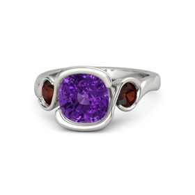 Cushion Amethyst 14K White Gold Ring with Red Garnet