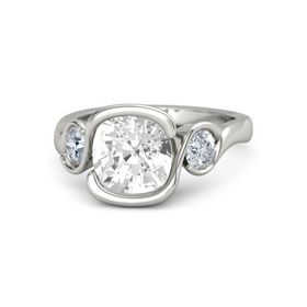 Cushion Rock Crystal 14K White Gold Ring with Diamond